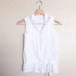 2/$20 Miss Me White lace sleeveless top